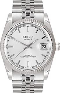 Whatswatch 26mm Parnis Silver dial Sapphire Glass Date Miyota Automatic Mens Women Watch ZA-336