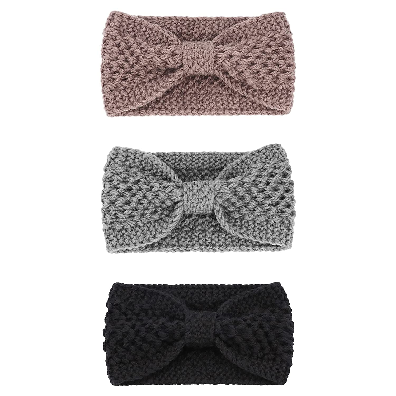 DRESHOW Chunky Headbands for Women Crochet Turban Knit Headbands Ear Warmer