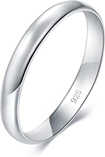 925 Sterling Silver Ring High Polish Plain Dome Tarnish Resistant Comfort Fit Wedding Band 3mm Ring