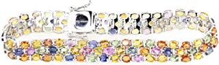 Sterling Silver Oval Three Row Natural Multicolor Sapphire Tennis Bracelet