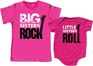 Big Sisters Rock and Little Sister Roll Shirt Set, Includes Size 5/6 and 0-3 mo