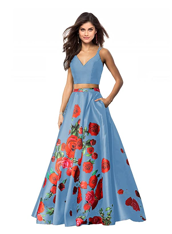 Lily Wedding Womens 2 Piece Floral Printed Prom Dresses 2019 Long Formal Evening Ball Gowns with Pockets GD32