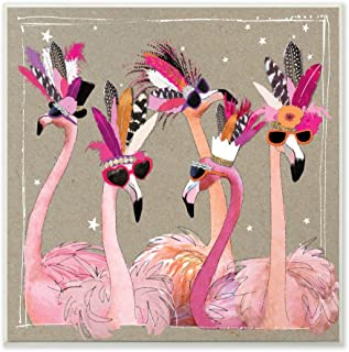 The Stupell Home Decor Collection Fancy Pants Flamingos Wall Plaque Art, 12 X 0.5 X 12, Multi-Color