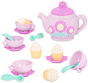 Pink Polka Dot FAO Schwarz Ceramic Tea Party Set for Kids 9 Pieces BRAND NEW!