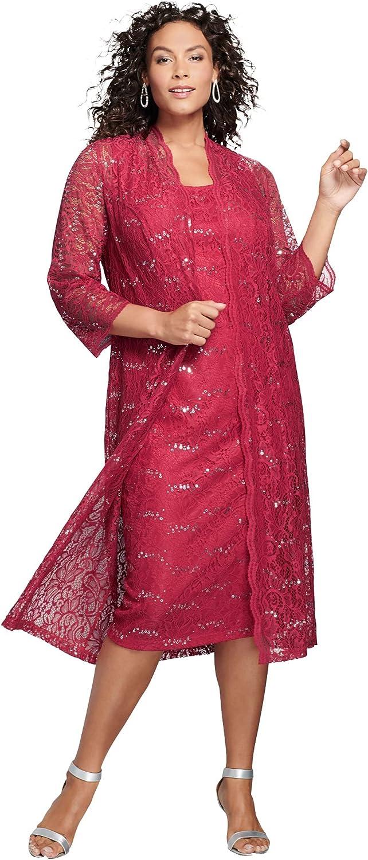 Roamans Women's Plus Size Lace & Sequin Jacket Dress Set Formal Evening
