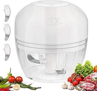 HALOVIE Picadora de Alimentos,300ML Picador de Ajo Eléctrica Cocina Procesador de Alimentos Verduras con 3 Cuchillas Afiladas Triturador Batidoras Licuadora para Alimentos para Bebés, Carne, Frutas