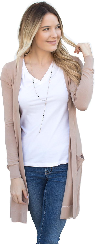 Tickled Teal Women's Soft Long Sleeve Pocket Cardigan