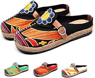Women's Mule Breathable Flat Espadrilles Shoes Slip on Slippers Summer Sandals Closed Toe Outdoor Walking Driving Shoes Ch...