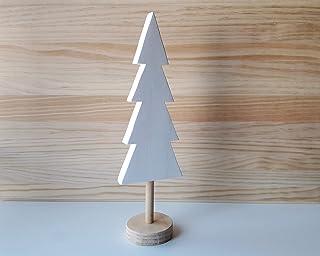 Árbol de Navidad de madera en blanco y pino natural de estilo nórdico - Altura: 32 cm - Decoración para el hogar de corte ...