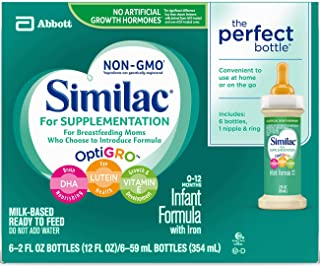 Similac For Supplementation Infant Formula with Iron, Ready-to-Feed Bottles, 2 Ounce, (Pack of 48)