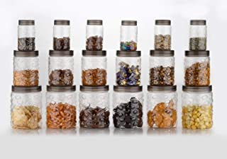 Kuber Industries Stone Design Plastic 18 Pieces Pet Grocery Container, Fridge Container, Utility Box, 1000 ml, 500 ml and ...