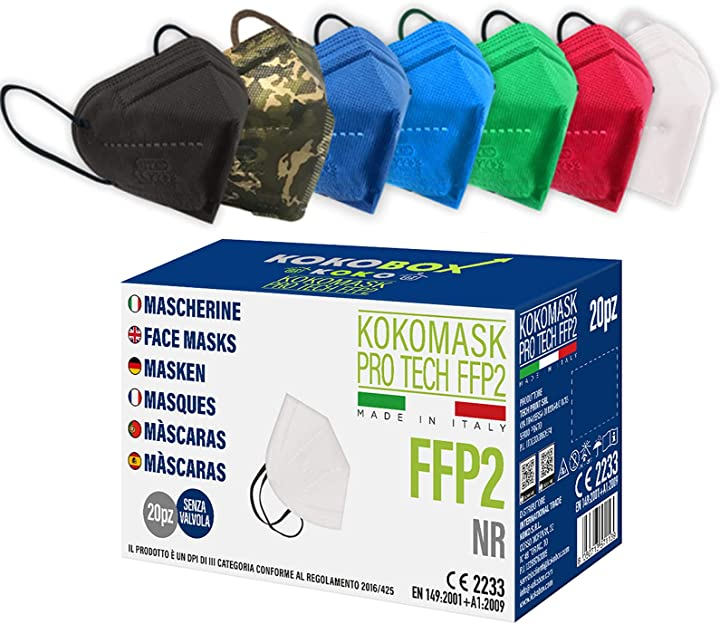 mascherine ffp2 certificate ce - colori assortiti 20 pezzi home koko look b092333t6m
