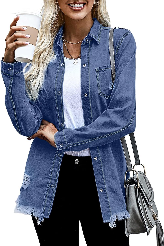 sale Low price Dokotoo Women's Oversized Denim Jacket Long Boyfriend Casual Dis
