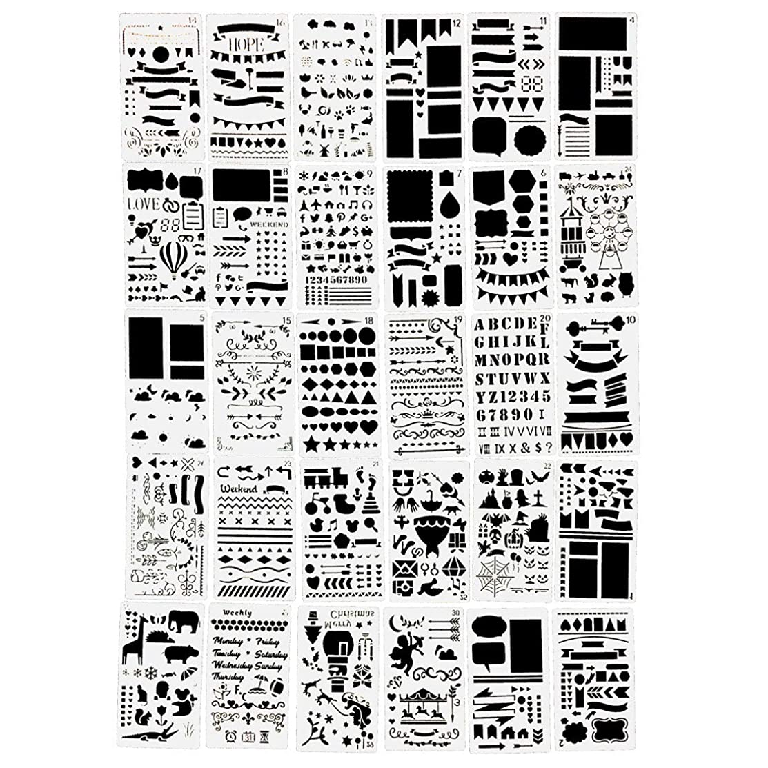 30PCs Letter and Number Stencils DIY Drawing Templates Bullet Journal Stencils Diary Notebook Scrapbook Process Cutting Mold