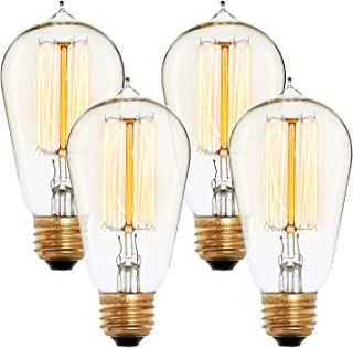 Edison Style ST18 Vintage Bulbs, Fully Dimmable, Warm White, 40W (E26), Squirrel Cage Filament, Brooklyn Bulb Co. Bushwick Design - Set of 4