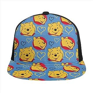 Hip-Hop Flat Baseball Snapback Cap Cap CanvasAdjustable Hat Winnie The Pooh Purple Seamless Pattern