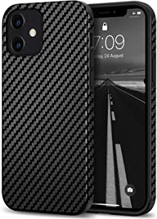 Tasikar Compatible with iPhone 12 Mini Case Carbon Fiber Leather Design with TPU Hybrid Slim Case (Black)
