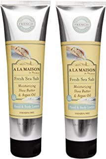 A La Maison De Provence Fresh Sea Salt Hand and Body Lotion (Pack of 2) With Shea Butter, Argan Oil and Avocado Oil, 5 fl oz Each