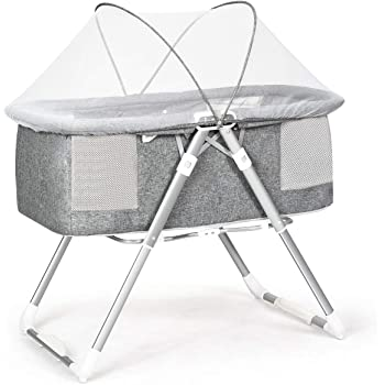 INFANS 2 in 1 Rocking Bassinet for Newborn Baby, One-Second Fold Travel Crib with Detachable & Thicken Mattress, Height Adjustable Legs, Mosquito Net, Cradle with Rock Mode & Stationary (Grey)