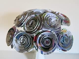Comic Book Paper Flowers Bunch, 1 Dozen 1.5 Inch Roses on Stems, Cartoon Theme Bridal Shower Decoration, Home Decor, Superhero Birthday Party Decor Centerpiece