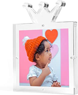 Clear Acrylic Magnetic Picture Frame, Unique Crown Design, 6x6'', Frameless, Floating Look, Crystal Clear Photo Frame, Freestanding Photo Display, Double Sided, 20 mm Thick, Elegant Gift Box