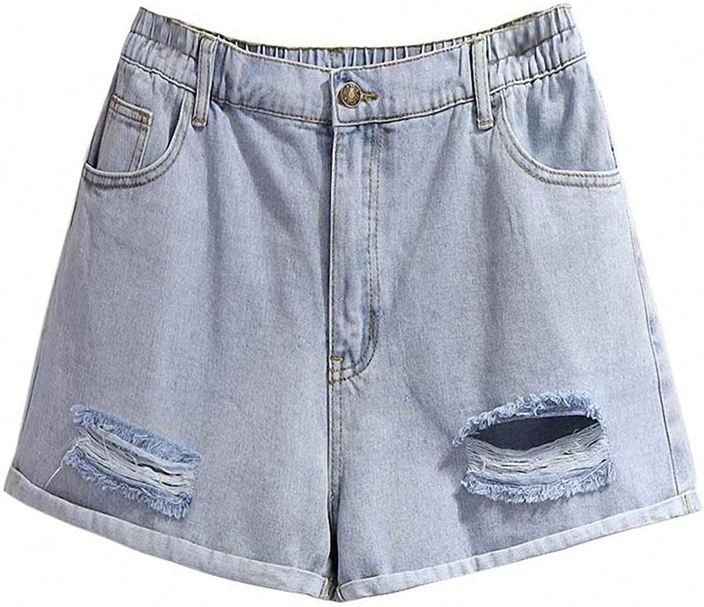 Tayaho Summer Plus Size Denim Shorts for Women Large Loose Casual Wide Leg Hole Pocket Jeans Shorts