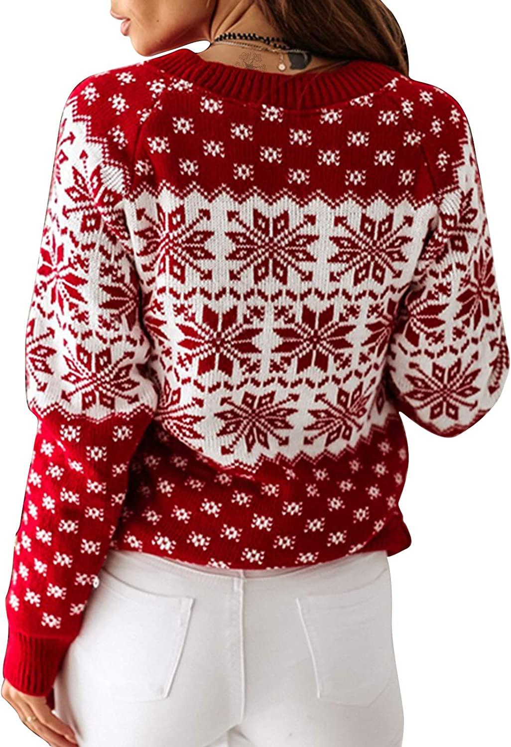 Exlura Sales for sale Patterns Reindeer Ugly Long Beach Mall Cardiga Sweater Christmas Pullover