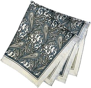 ポケットチーフ シルクチーフ メンズ 紳士 英国製 Silk ターンブル&アッサー Turnbull&Asser 大判 Blue/Paisley Size45x45cm C012