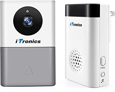 iTronics WiFi Doorbell Camera with Ring Chime Smart Wireless Battery Door Bell Two-Way Audio, Night Vision - No Monthly Fees