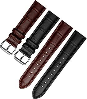 (Twin Pack) Quick Release Genuine Leather Watch Straps Black/Brown
