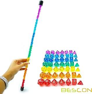 Bescon 49pcs Rainbow Gem Mini Polyhedral Dice Set in Long Tube, Rainbow Dungeons and Dragons RPG Dice 7X7pcs, Mini Gem Dice Set