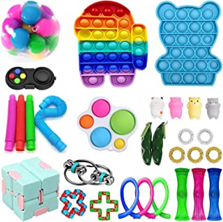 30Pack Sensory Fidget Toys Set, Stress Relief and Anti-Anxiety Toys Bundle for Kids&Adults, Push Pop Bubble,Marble and Mes...