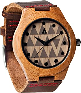 Men's Wooden Bamboo Watch with Genuine Leather Strap Quartz Analog wi.