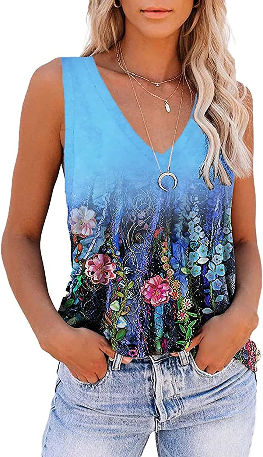 Womens Tops,Womens Tank Tops Summer Loose Fit Color Block Casual Sleeveless Tshirts