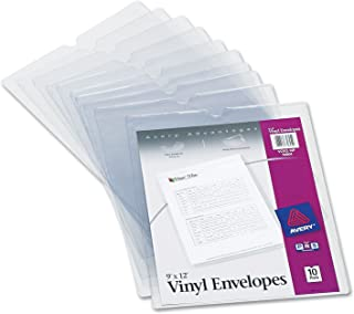 "Avery 74804 Top-Load Clear Vinyl Envelopes w/Thumb Notch, 9"" x 12"", Clear (Pack of 10)"
