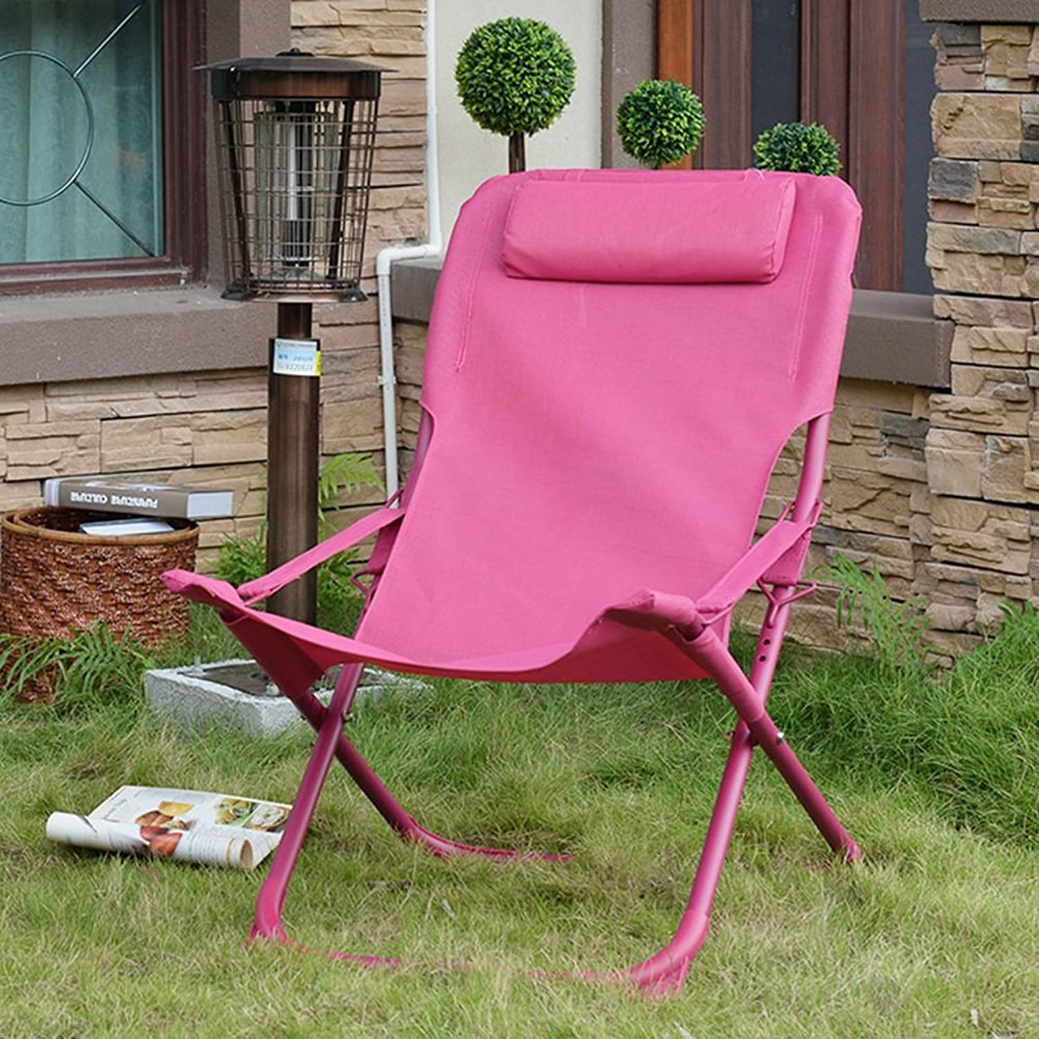 GWDJ Lounger Deck Chairs Simple Pure color Lightweight Folding Chair Casual Office Practical Siesta Backrest Chair Outdoor Portable Beach Chair Balcony Garden Lounge Chair Relaxer Recliner