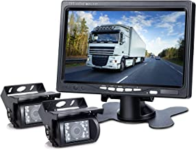 DVKNM Upgrade Dual Backup Camera Monitor Kit,1280X720P HD,IP69 Waterproof Rearview Reversing Rear View Camera 7'' LCD Reversing Monitor Truck/Semi-Trailer/Box Truck/RV — HD Transmission— (TZ102)