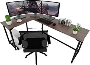 SZXKT L-Shaped Corner Desk for Gaming and Studying 3-Piece Interchangeable Wood & Metal Home Office Computer PC Table Workstation(Walnut)