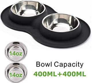 Minracler 犬 皿 犬 食器 ステンレス ペット ボウル 犬 ご飯皿 滑り止め こぼれ シリカゲル 食器スタンド 犬 (M, Black)