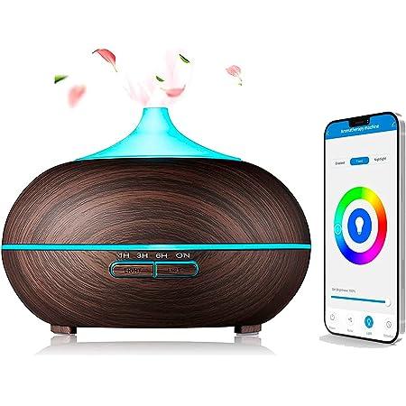 Difusor aceites esenciales 300ml, Humidificador Aromas ultrasónico Alexa y Google Home, Si Smart Smart Life, Madera oscuro, Difusor aromas para Bebes, yoga, salón, habitación.