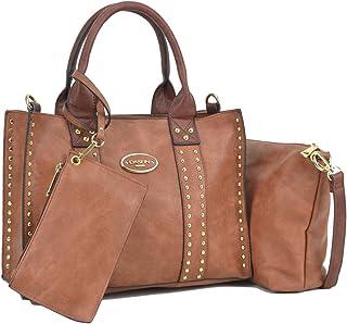 Women Vegan Leather Handbags Fashion Satchel Bags Shoulder Purses Top Handle Work Bags 3pcs Set