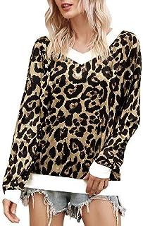 GUOCAI Women Long Sleeve Leopard Print V-Neck Tops Blouse T Shirts
