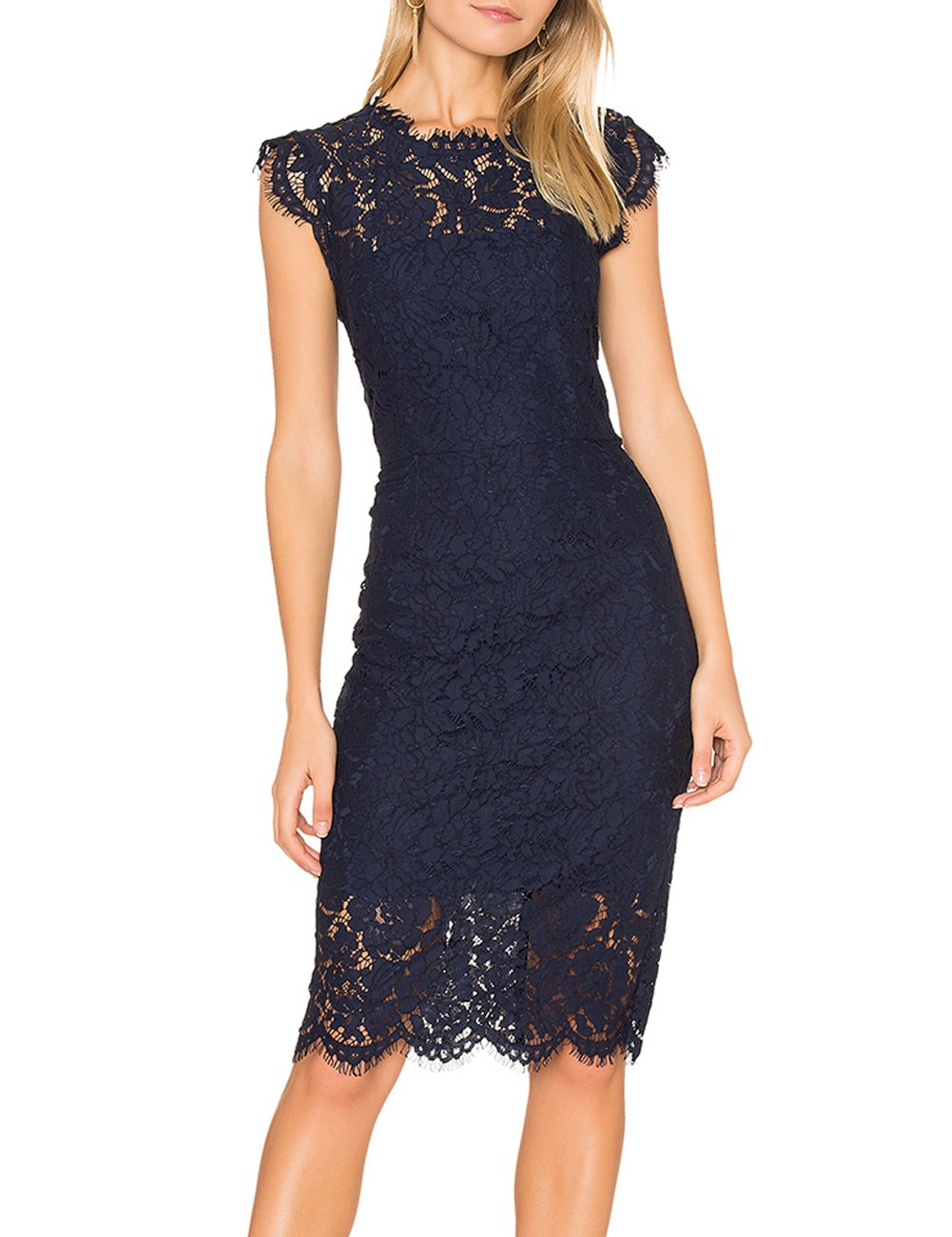 Party Dresses - Women's Sleeveless Lace Floral Elegant Cocktail Dress Crew Neck Knee Length For Party