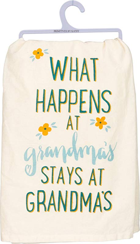Primitives By Kathy Dish Towel What Happens At Grandma S Stays At Grandma S