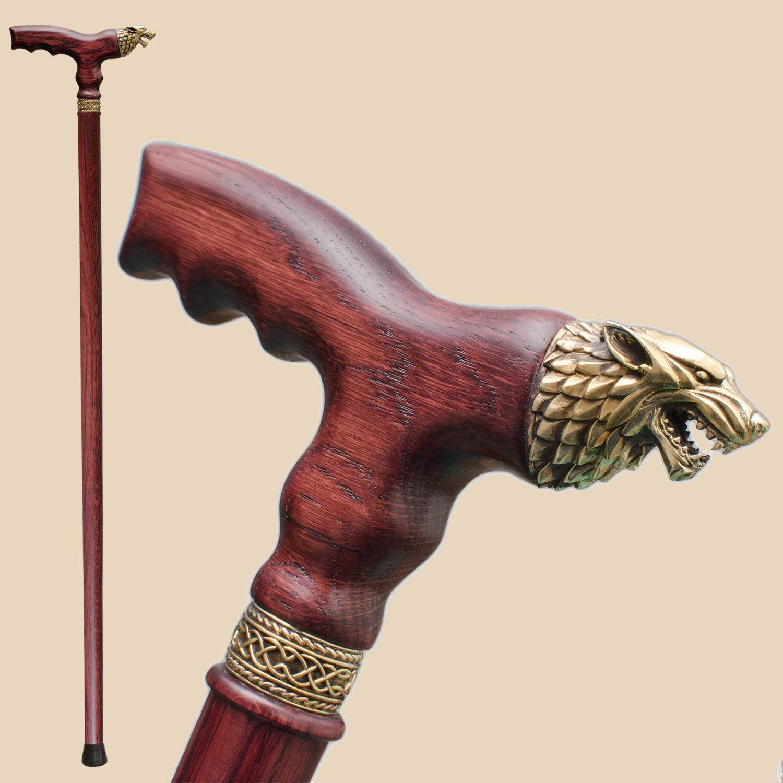 Limited price sale Fancy mart Wooden Cane for Men Walking Handmade Stylish Direwolf -