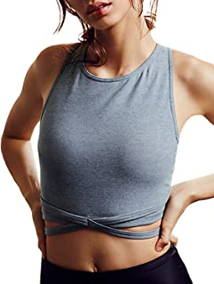 HaoDuoYi Women's Light Support Cross Back Wirefree Removable Cups Yoga Sport Bra
