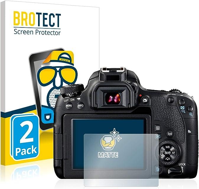 BROTECT Protector Pantalla Anti-Reflejos Compatible con Canon EOS 77D (2 Unidades) Pelicula Mate Anti-Huellas