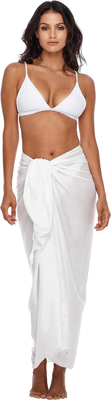 SHU-SHI femmes blanc Beach Cover Up Sarong Maillot de bain Cover-Up Plusieurs couleurs unies au choix taille unique