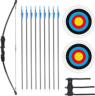 "Procener 45"" Bow and Arrow Set for Kids Archery Beginner Gift Recurve Bow Kit with 9 Arrows 2 Target Face 18 Lb for Teen O..."