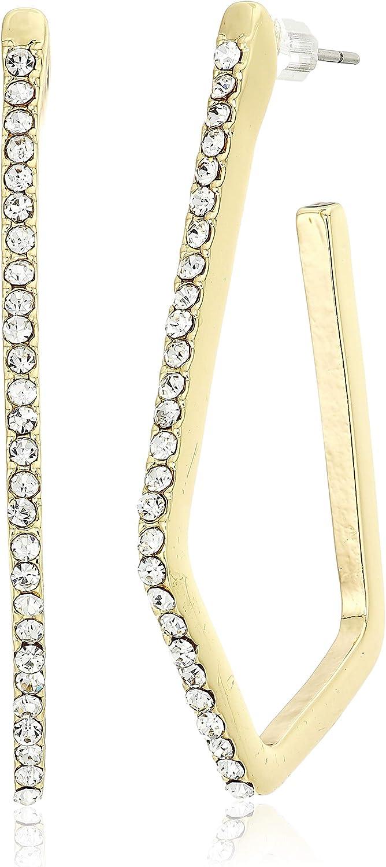 Anne Klein Women's Gold Tone Post Geometric Hoop Earrings, Size: 0